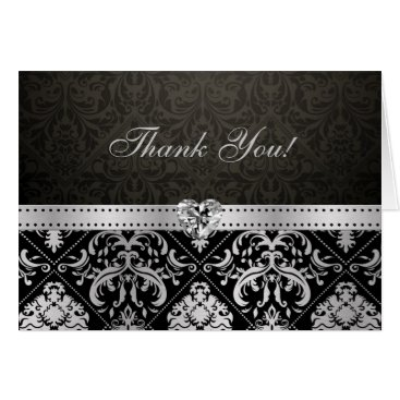 Elegant Silver and Black Damask with Diamond Heart