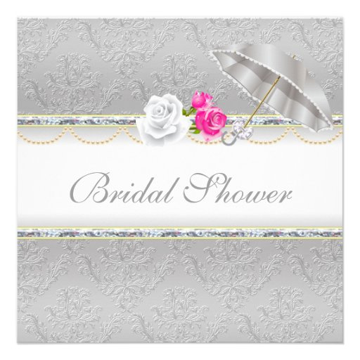 Pink And Silver Bridal Shower Invitations
