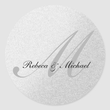 Elegant Silver Monogram Wedding Sticker