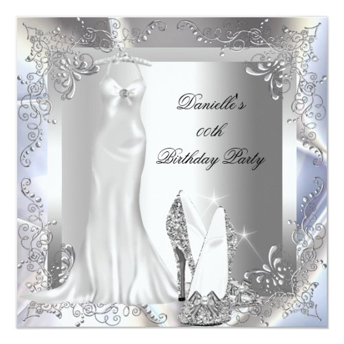 Elegant Silver White High Heel Shoe Birthday Party Card