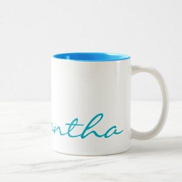 elegant simple modern chic trendy monogram teal Two-Tone coffee mug