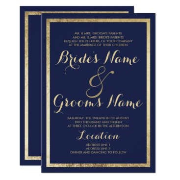 Elegant stylish modern blue faux gold Wedding Invitation