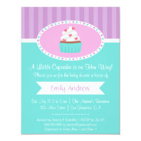 Elegant Sweet Cupcake Baby Shower Invitations