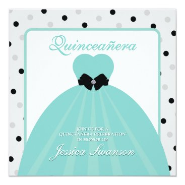 Elegant Teal and Black Formal Gown Quinceañera Card