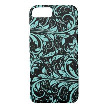 Elegant teal blue and black damask floral pattern iPhone 7 case