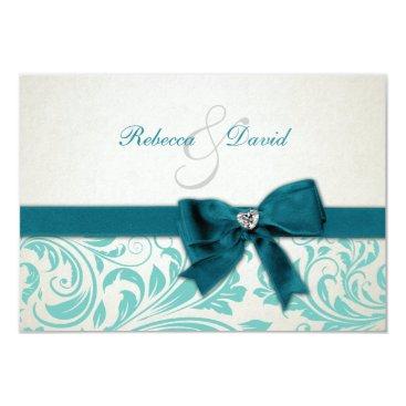 Elegant Teal Blue and White Damask RSVP Card