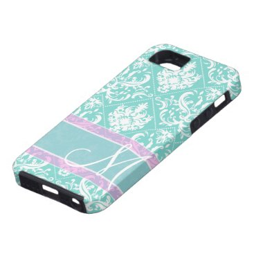 Elegant teal blue and white damask with monogram iPhone SE/5/5s case