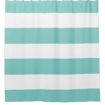 Elegant Teal Blue and White Stripes Pattern Shower Curtain