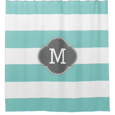 Elegant Teal Blue and White Stripes with Monogram Shower Curtain