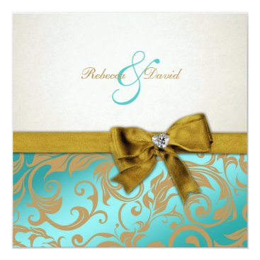 Elegant Teal Blue Damask with diamond bow Invitation