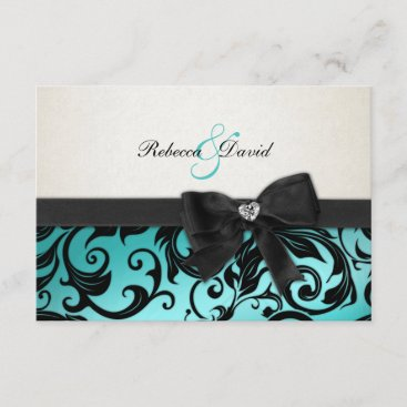 Elegant Teal Blue Damask with diamond RSVP