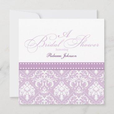 Elegant Thistle Purple damask Bridal Shower Invitation