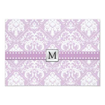 Elegant Thistle Purple & White Vintage Damask RSVP Card