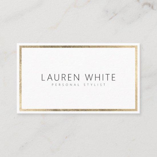 Elegant trendy gold foil frame minimal modern business card