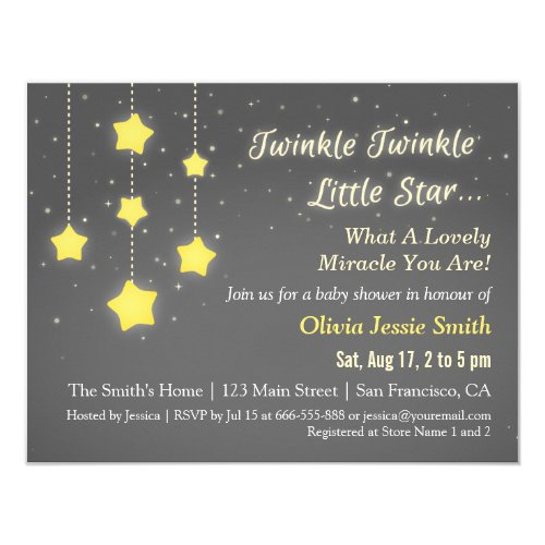 Elegant Twinkle Twinkle Little Star Baby Shower Card