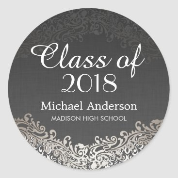 Elegant Vintage Silver Damask Class of Graduation Classic Round Sticker