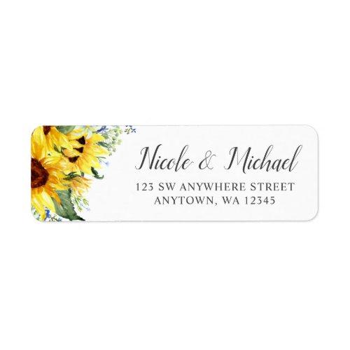 Elegant Watercolor Sunflowers Return Address Label