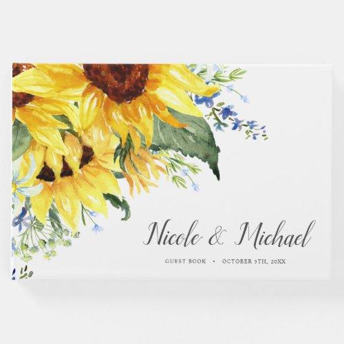 Elegant Watercolor Sunflowers Wedding Guest Book