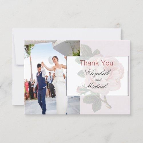 Elegant Wedding  Photo Floral Thank You Card
