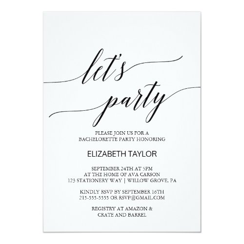 Elegant White and Black Calligraphy Let&#39&#x3B;s Party Invitation