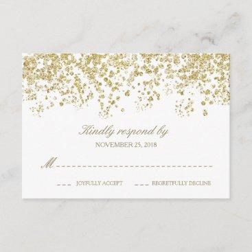 Elegant White and Gold Confetti Polka-Dots RSVP