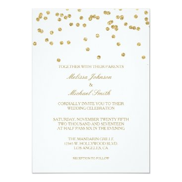 Elegant White and Gold Polka-dots Confetti Wedding Card
