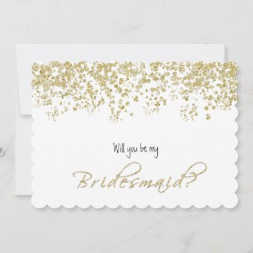 Elegant White and Gold Will you be my bridesmaid? Invitation