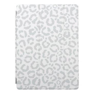 Elegant White Gray Leopard Cheetah Animal Print iPad Pro Cover