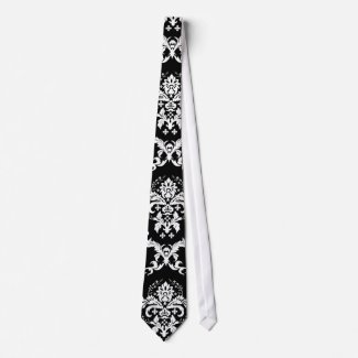 Elegant White on Black Damask Custom Tie