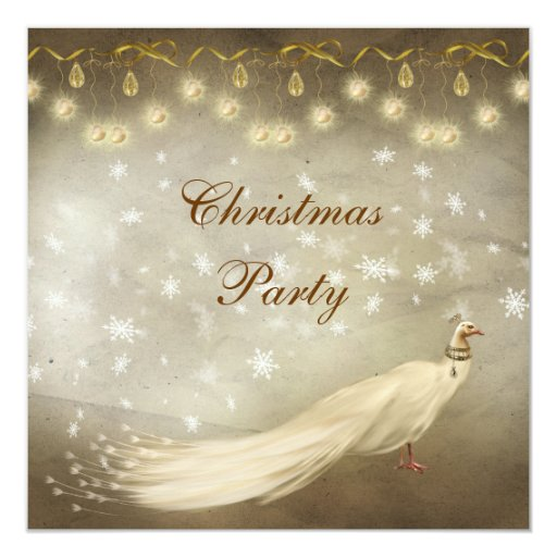Elegant White Peacock Classy Christmas Party Invitation