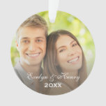 Elegant White Script Holiday Monogram Photo Ornament