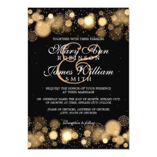 Elegant Winter Wedding Gold Lights 5x7 Paper Invitation Card