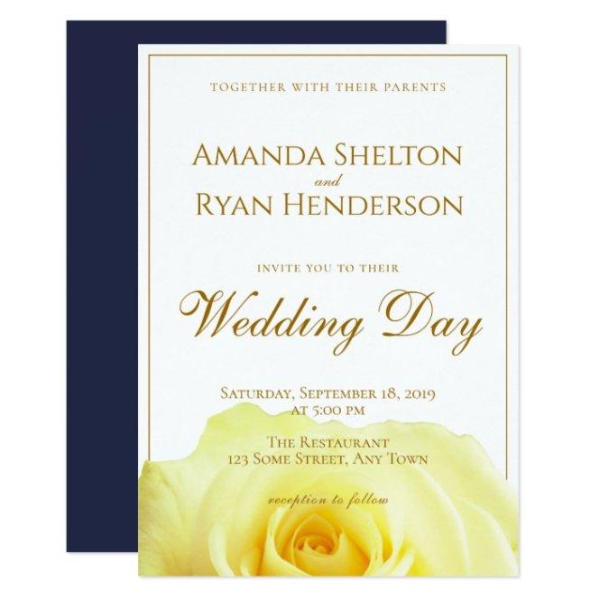 Rose Script Fl Wedding Invitation