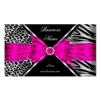 Elegant Zebra Leopard Black Hot pink 2 Double-Sided Standard Business Cards (Pack Of 100)