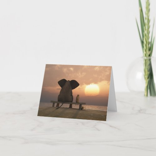 Elephant and Dog Friends Note Card