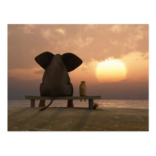 Elephant and Dog Friends Postcard