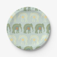 Elephant and Mandala Pattern in Light Green Paper Plate ...