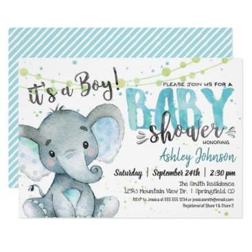 Elephant Baby Shower invitation, Boy Invitation