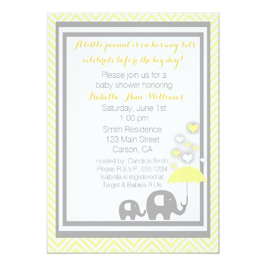 Elephant Gray And Invitations Yellow Baby Shower