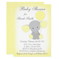 Elephant Baby Shower Invitation Yellow Gray