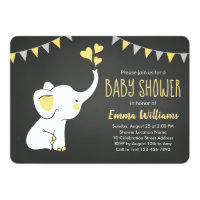 Elephant Baby Shower Invitation Yellow Gray Black
