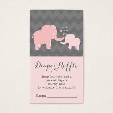 Elephant Baby ShowerDiaper Raffle Ticket Pink Grey