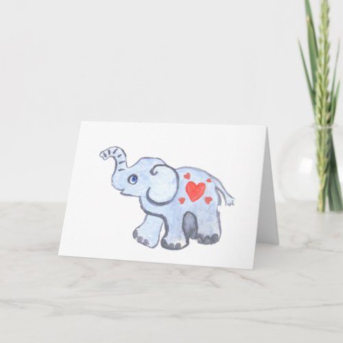 elephant baby with hearts card