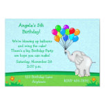 Elephant Balloons Birthday Invitation