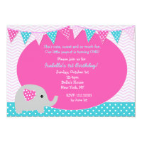 Elephant Birthday Party Invitations