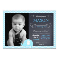 Elephant Chalkboard Birthday Party Invitations