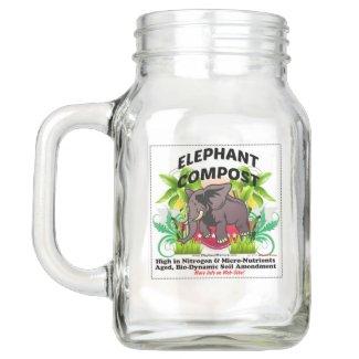 Elephant Compost Mason Mug Mason Jar