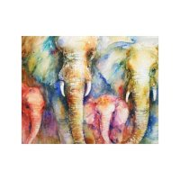 Elephant family painting wall art on canvas | Zazzle.com
