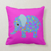 Elephant flowers cute animal girl nursery room throw pillow
