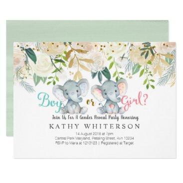 Elephant gender reveal Invitation Botanical